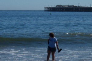 dipping my feet in the ocean in Santa Cruz