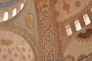 a close-up of the tile work