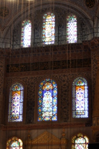 A close-up of some of the stained glass windows