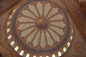 The main dome ceiling--all tiles in the Blue Mosque were hand painted!