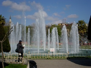 The fountains in the garden.