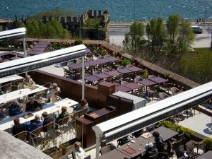 a look down at the cafe on the palace grounds--with stunning views of the Bosphorus