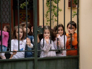 Local school kids stopped playing to wave hello!